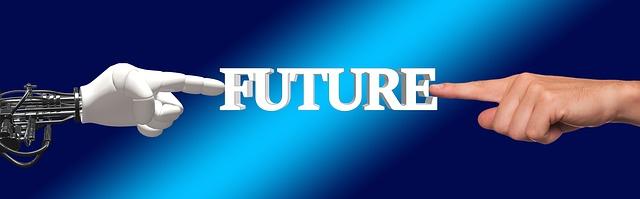 Der Schriftzug FUTURE wird von einem menschlichen und einem Roboterfinger gehalten.
